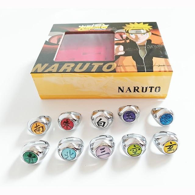 Anime Naruto 10 pcs/set Akatsuki Member Cosplay Matel Model Ring