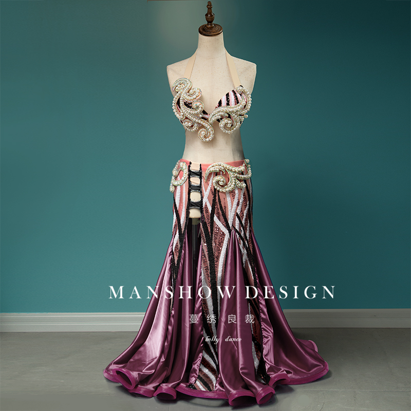 2019 New Sexy Suit Belly Dance Costume Female High-End Custom Three-Dimensional Flower Bag Hip Fishtail Skirt Costume Clothing