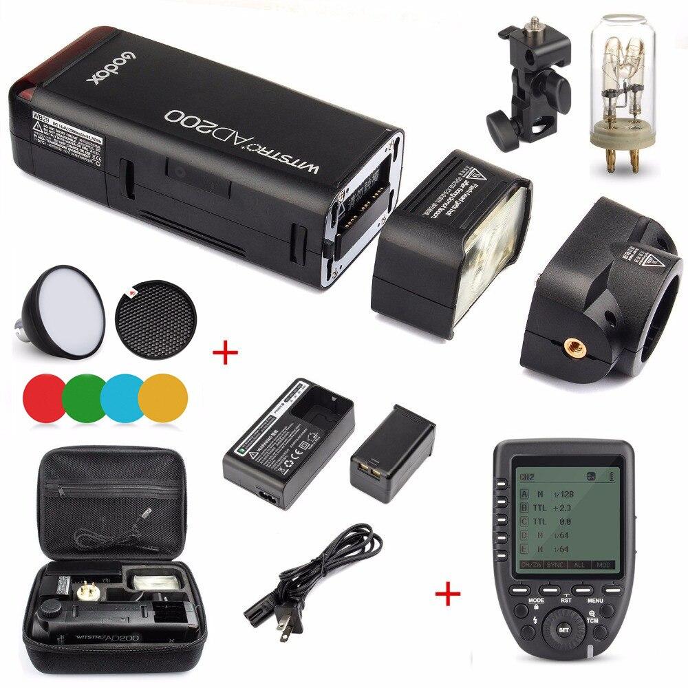 Godox ad200 200ws 2.4g ttl flash strobe 1/8000 hss com 2900 mah bateria e lâmpada nua/speedlite flash cabeça para nikon sony câmera