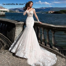 Vestido noiva2019 new lace long sleeves to see sexy mermaid