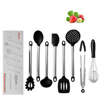 8 Piece Set Kitchen Cooking Set Tool Silicone Spatula Scraper Spoon Colander Baking Cooking Anti scalding Utility