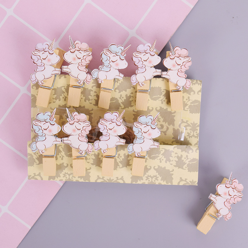 10 Pcs/lot Cute Unicorn Animal Photo Clips Wooden Clip DIY Photo Wall Decoration Clip Craft Pegs With Hemp Rope