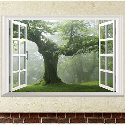 Green Old Tree 3D Window Wall Sticker Removable Vinyl Decal Mural Art Home  Decor 3D False Window Of Green Trees Wall Stickers In Wall Stickers From  Home ...