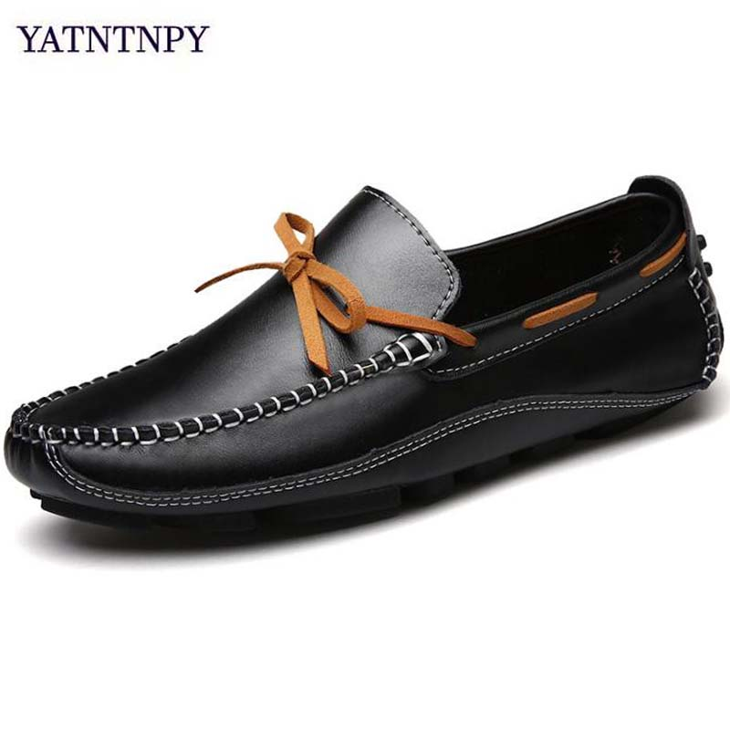 YATNTNPY Fashion Men Flat Leather Shoes Slip-on Loafers Man Sneakers Casual espadrilles Comfortable Ultralight  Moccasins