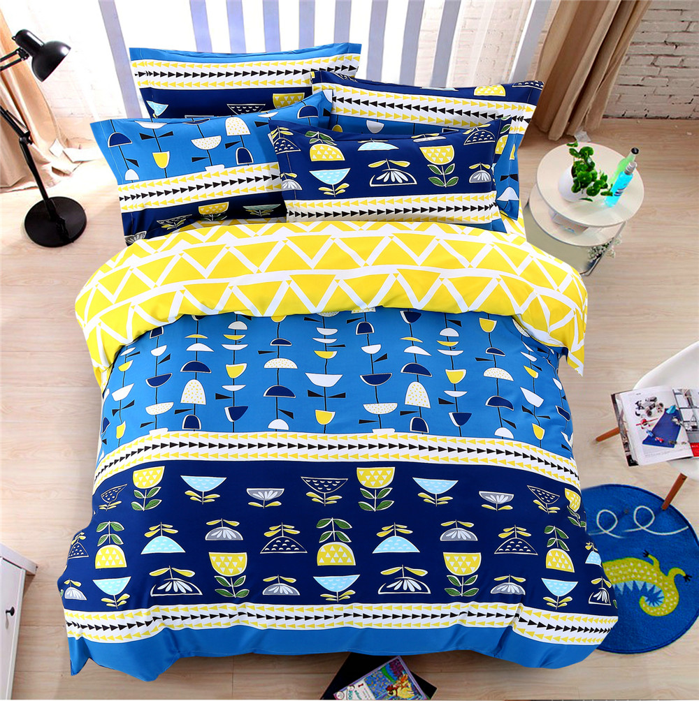 Bright blue bedding - Bright Colorful Comforter Bed Sheet Sets Kids 4 5 Pcs Yellow Quilt Duvet Cover Queen