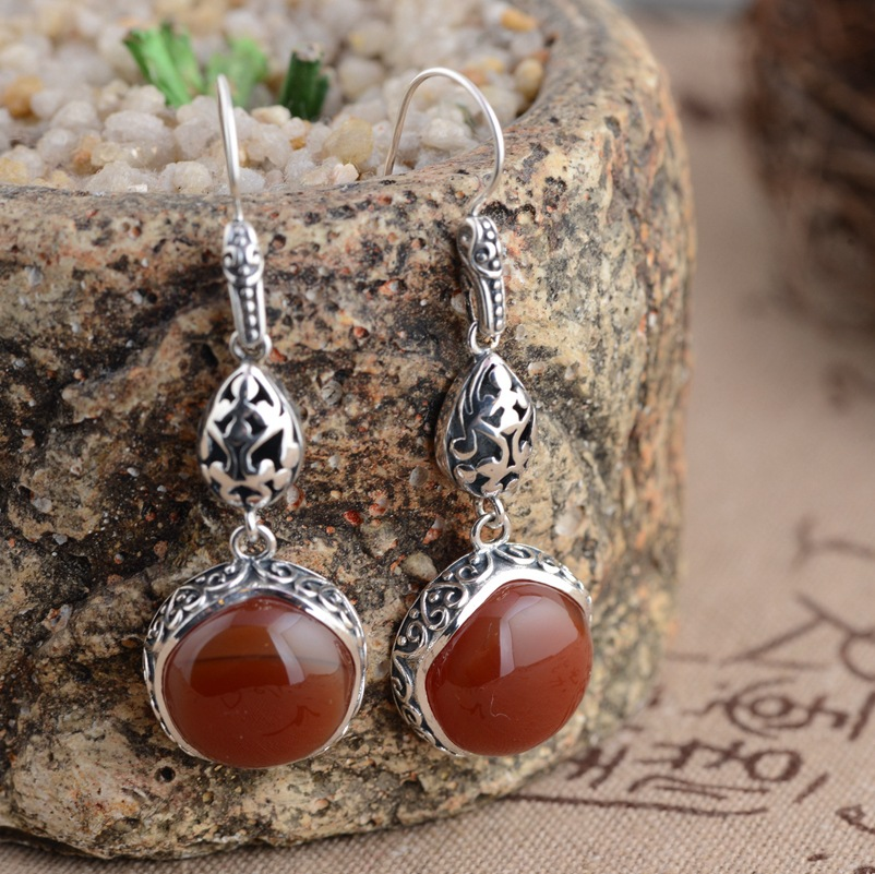 S925 silver inlaid Natural stone Earrings wholesale antique craft female new earrings thai silver earrings s925 zircon silver inlaid white female antique style earrings atmospheric water