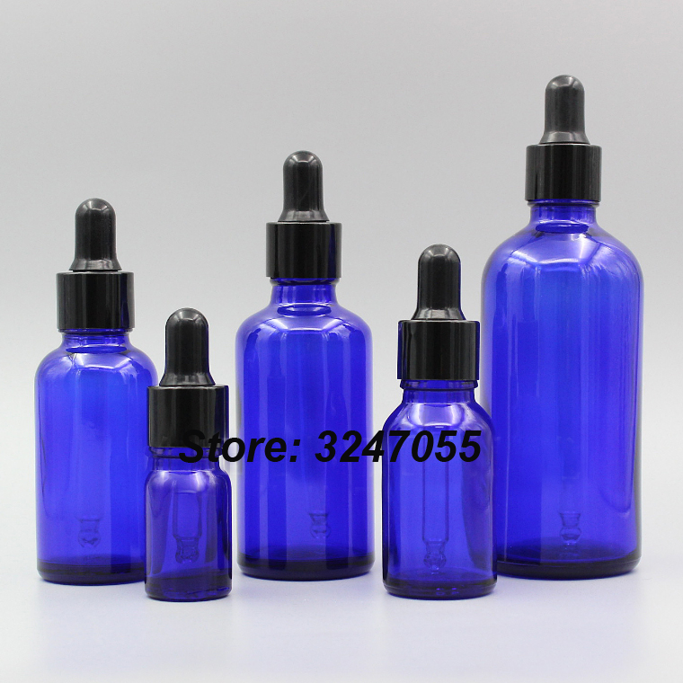 5/10/15/20/30/50/100ml Glass Cosmetic Dropper Bottle, Empty Blue Essential Oil Refillable Bottle, Essence Aromatherapy Package fcl wholesale 5 10 15 20 30 50 100ml empty brown glass essential oil bottle without cap