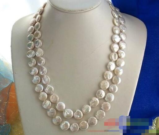 FREE SHIPPING>@@> Hot sale new Style >>>>> 46 14MM COIN WHITE FRESHWATER CULTURED PEARL NECKLACE