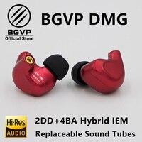 BGVP DMG HIFI наушники 2DD + 4BA Гибридный IEM технология внутриканальные типы с MMCX сменный кабель дизайн корпус из алюминиевого сплава