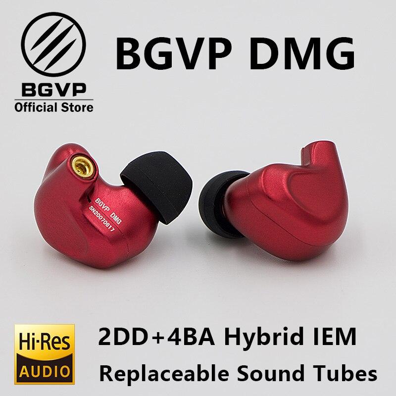 BGVP DMG HIFI Earphone 2DD+4BA Hybrid IEM Technology in ear types with MMCX replaceable cable design aluminium alloy shell