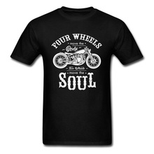 Vintage Motobike Rider Cycle Male Tops & Tees Motorcycle Tshirt Black Four Wheel Move The Body Two Wheels Soul