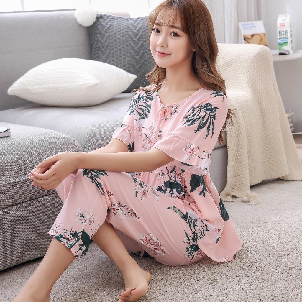 Casual Nightwear Loose Home Wear Summer New 2PCS Shirt&Pants Home Clothes Female Flower Pajamas Set Cotton Sleepwear M-XXL