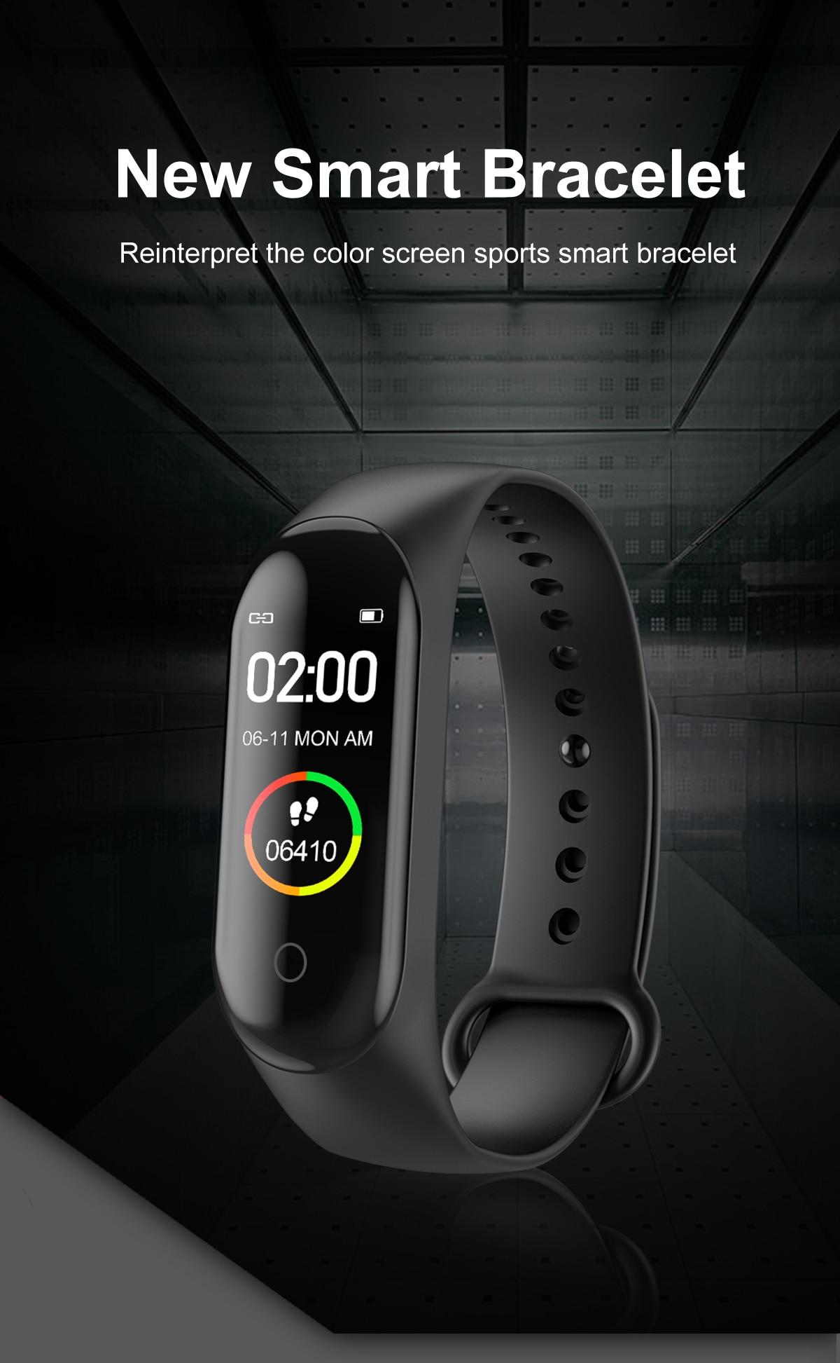 M4 Smart Band Waterproof Sport Wristband Smart Watch Men Heart Rate Smart Bracelet Blood Pressure Oxygen Connected Watch relogio
