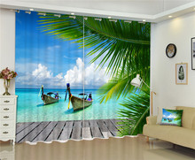 Maldives Beach Sea Blackout Window Drapes Luxury 3D Curtains For Living room Bed room Office Hotel Home Wall Tapestry