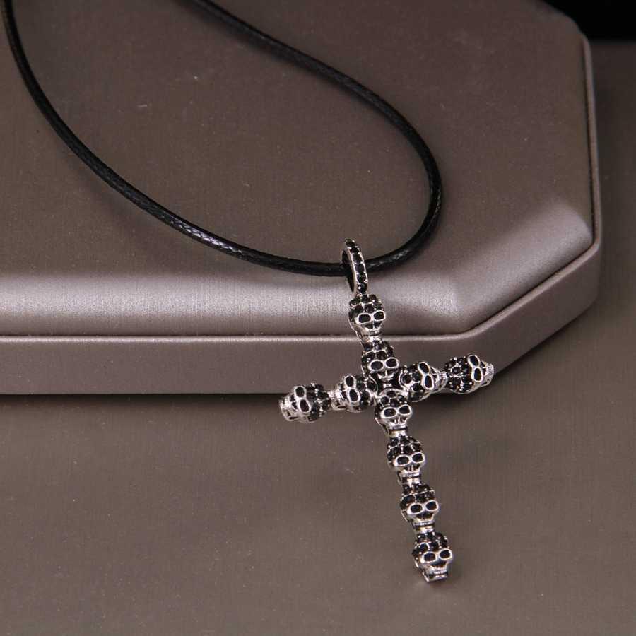 Hemiston Thomas pełna czaszka cyrkon krzyż wisiorek i Faux Leather naszyjnik, Rebel biżuteria w kształcie serca dla kobiet mężczyzn TS-NB133