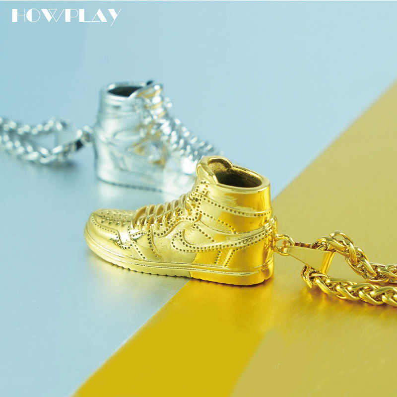 huge discount dd20a be5fc HOWPLAY Air Jordan necklace AJ1 basketball shoes model 3D keychain backpack  Pendant Creative sneakers keyring for