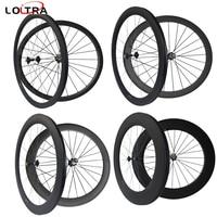 Углерода 24 мм 38 мм 50 мм 60 мм 88 мм клинчер трубчатые велосипедов колеса углеродного волокна Колесная дорожный велосипед