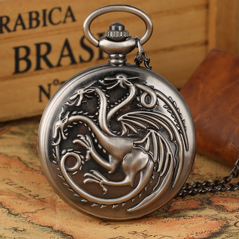 Game Of Thrones Theme Quartz Pocket Watch Chain Family Crests House Targaryen Dragon Design Pendant Watches Necklace Clock Hours