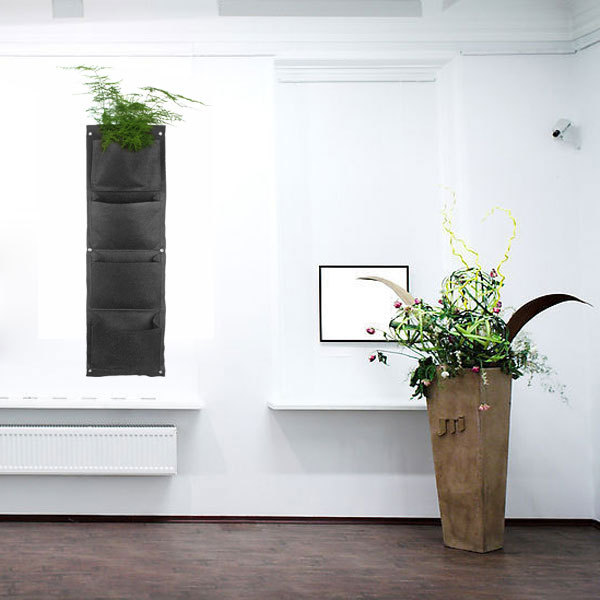 4 pockets vertical gargen flower pots planters wallmounted living indoor wall planter plant bonsai