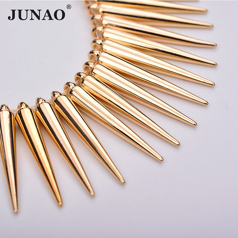 JUNAO 100pcs 5*35mm Gold Studs Spikes Big Decoration Rivet Sew On Plastic Rivet For Leather Clothes Bag Jewelry Making Crafts