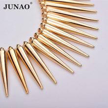 JUNAO 100pcs 5*35mm Gold Studs Spikes Big Decoration Rivet Sew On Plastic Rivet for Leather Clothes Bag Jewelry Making Crafts(China)