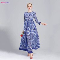 HANZANGL New 2017 Spring Autumn Women S Long Sleeve Elegant Vintage Blue And White Print Dress