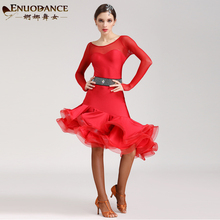 Latin Dance Costume Female Summer Rumba Dancing Dress Long Sleeve Slim Suit Diamond Decor D-0134