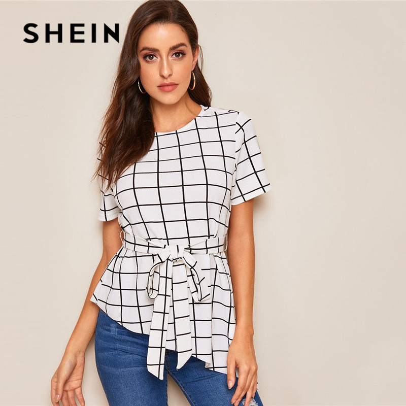 SHEIN Asymmetrical Hem Belted Grid Summer Blouse Women Clothes 2019 OL Elegant Short Sleeve Round Neck Blouse Ladies Tops
