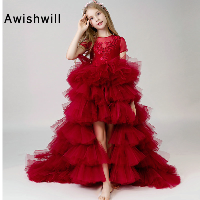 New Arrival Short Sleeve Flower Girl Dress 2019 Appliques Tiered Tulle Burgundy Pageant Dress High Low First Communion Gown