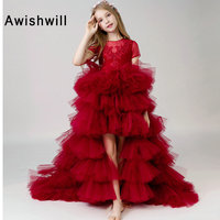 New Arrival Short Sleeve Flower Girl Dress 2020 Appliques Tiered Tulle Burgundy Pageant Dress High Low First Communion Gown