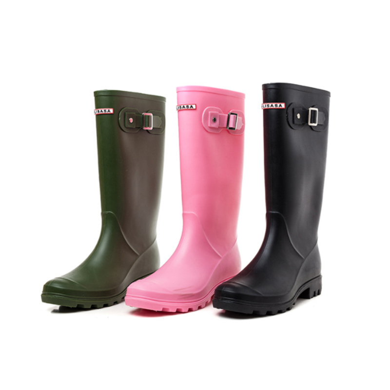 YUB Brand Knee-High Women's Rain Boots with Adjust Elastic Three Solid Colors Casual Waterproof High Heel Winter Boots yub brand waterproof rain boots for women with solid color slip on winter mid calf shoes for girls