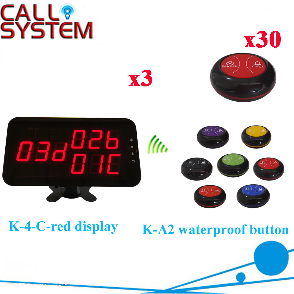 Wireles Service Calling Buzzer System Professional Waiter Call Bell Buzzer 433.92mhz Full Set( 3 display+30 call button )