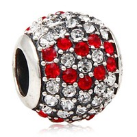 1pcs Lot European 925 Sterling Silver Jewelry Pave Red Heart Charm Bead With Austrian Crystal