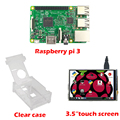 "RS Raspberry Pi 3 Model B Board +3.5"" LCD Touch Screen Display with Stylus + Acrylic Case for Raspberry pi 3 kit Free Shipping"
