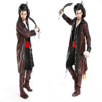 2017 New Adult Mens Halloween Party Pirate Costumes Fancy Cosplay Dresses Outfit With Shirt Vest Belt