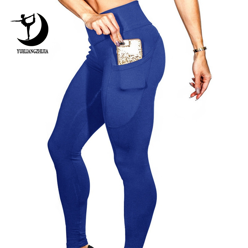 Image 2 - 2019 women brand new sports leggings for fitness, High Waist outdoor legging with pocket, Tummy Control sports pants-in Leggings from Women's Clothing