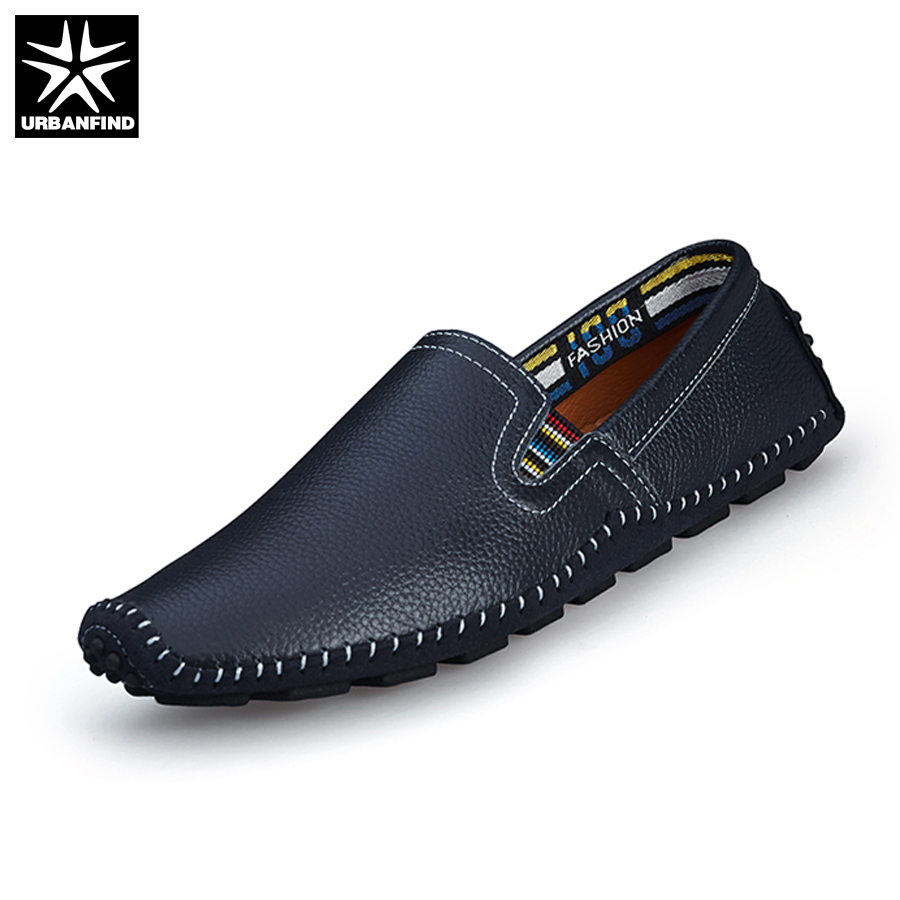 URBANFIND Casual Men Leather Loafers Fashion Driving Shoes EU 38-43 Top Leather Moccasins Man Summer Slip-on Flats Massage Sole hot high quality men loafers leather round toe slip on casual shoes man flats driving shoes hombre zapatos comfortable moccasins