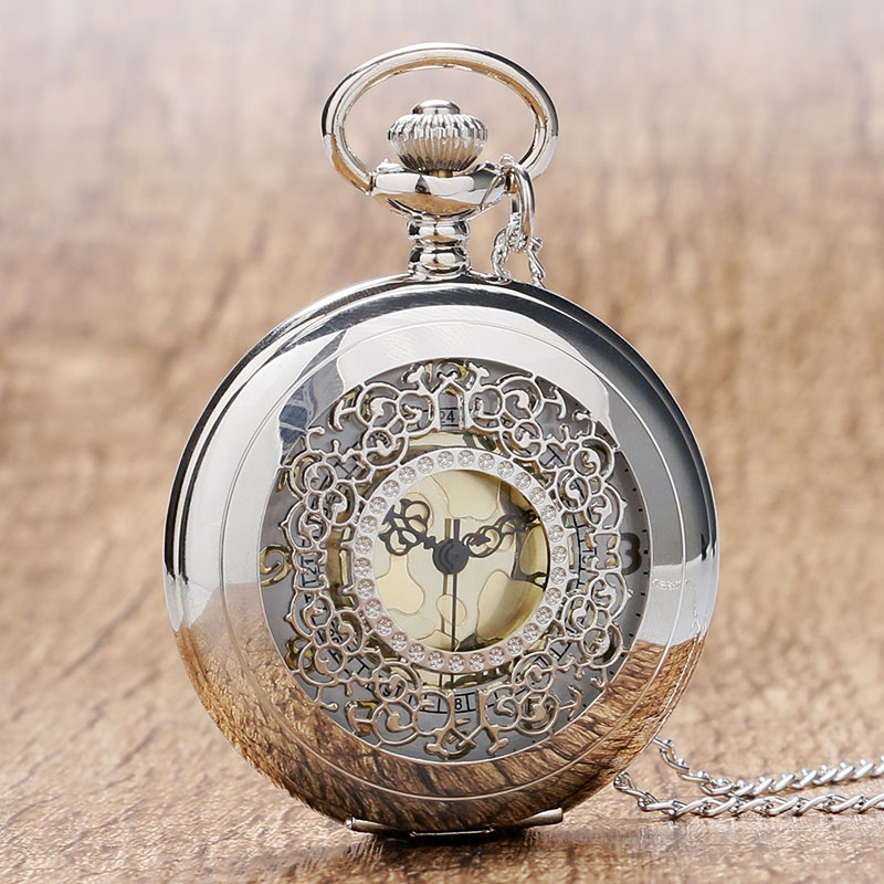 2016 New Arrival Hollow Silver Pendant Fob Pocket Watch With Necklace Chain For Men Women Free Drop Shipping vintage watch steampunk men skeleton mechanical fob pocket watch clock pendant hand winding men women chain with gift box