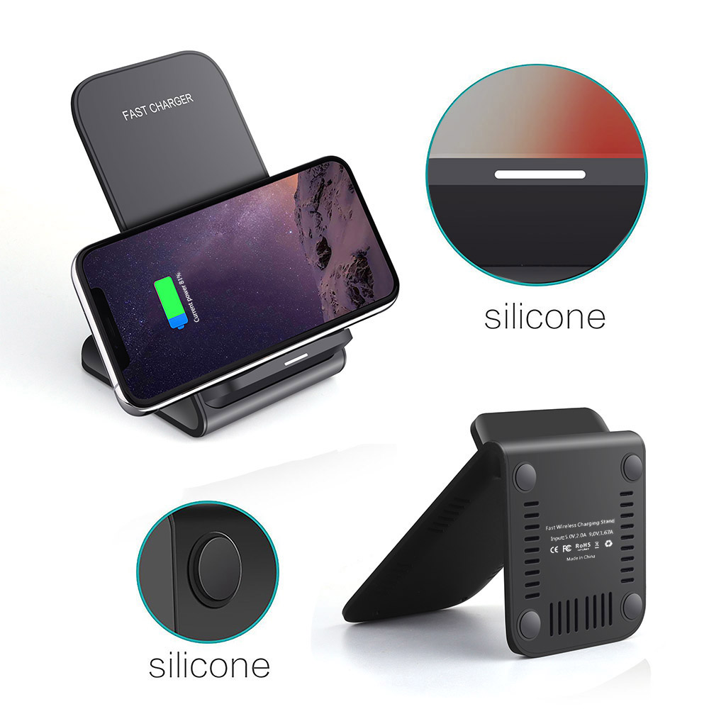 FDGAO Qi Wireless Charger Dock USB Fast Charging For iPhone X Xs MAX XR Samsung S8 S9 Note 8 10W Wireless Quick Charger Holder in Wireless Chargers from Cellphones Telecommunications