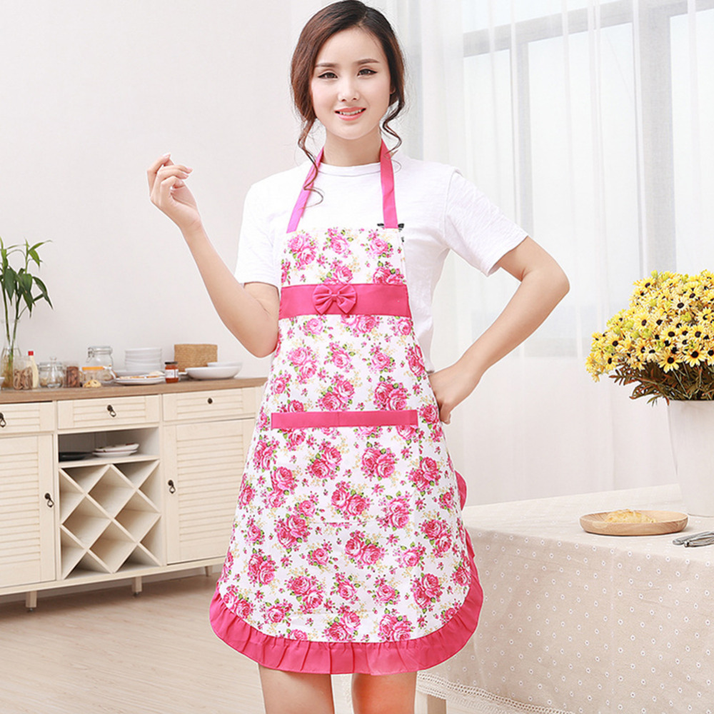New Printed Waterproof Floral Bib Kitchen Soil Release Aprons with Pockets Home Textiles Bowknot Women Bibs Breech Cloth Apron