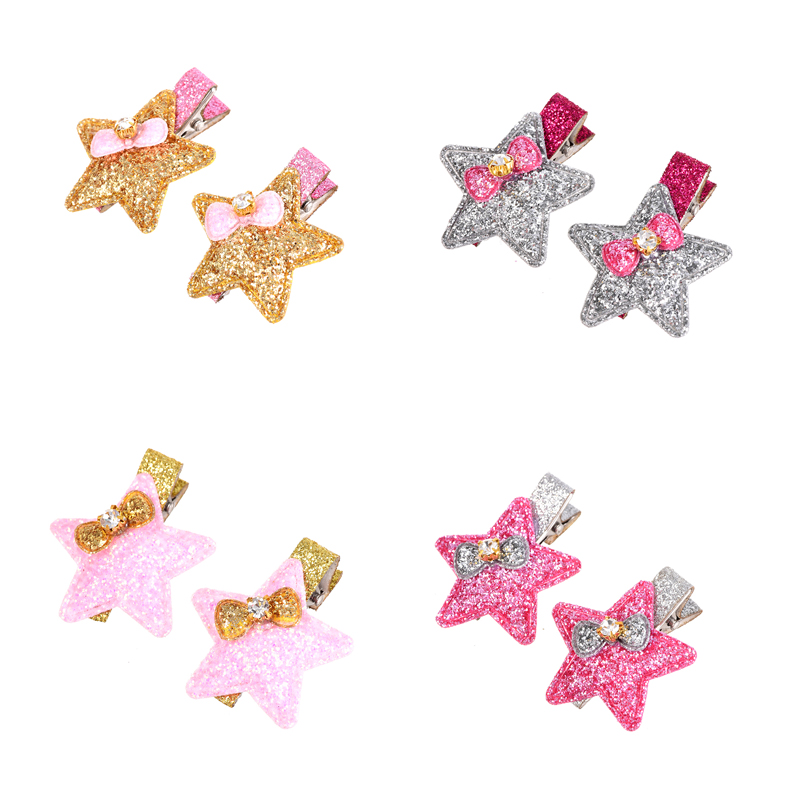 M MISM Children Star Hair Clips Bow Tie Rhinestone Barrettes Girls Sequin Shining Crystal Lovely Cute Hair Clamps Accessories