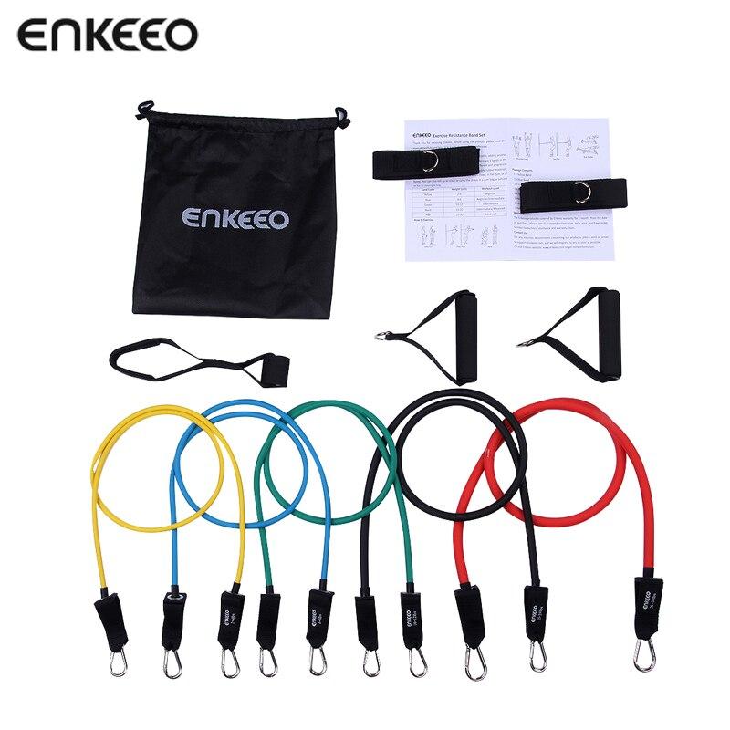 Enkeeo Resistance Band Set 11Pcs/Set Pilates Latex Tubing Expanders Exercise Tubes Practical Strength Crossfit Fitness Equipment