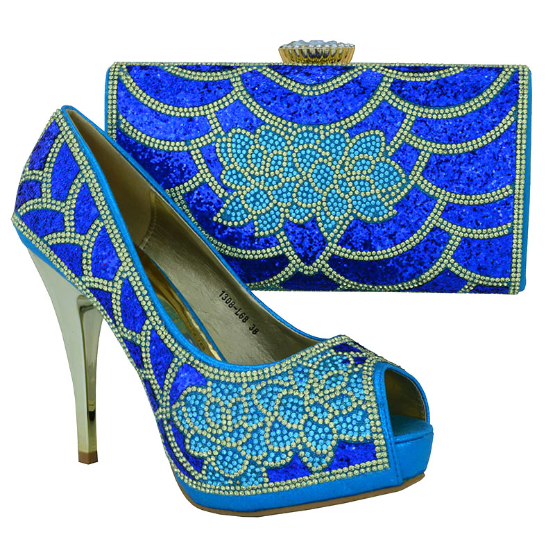ФОТО 1308-L68 Sky Blue Italian shoes and bag set African Fashion italian Shoes and Matching Bags set For free shipping