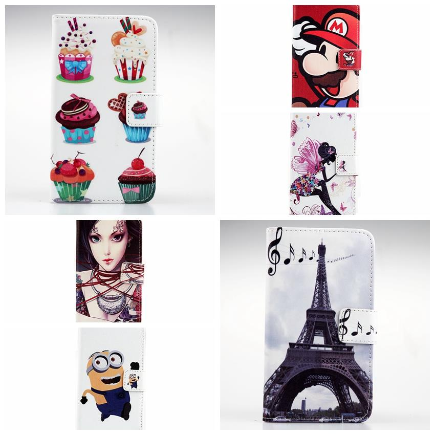 Fashionable Painted Fashion Iron Tower Cartoon For Nokia Lumia 515 Book Style Stand Flip Cover Pouch PU Leather Case Dessert
