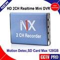 Nueva Syle hd $ number canales Mini DVR Casa/coche Usado 2 canales DVR motion detectar con 2 cámaras que trabajan al mismo tiempo de la ayuda 128 gb sd card