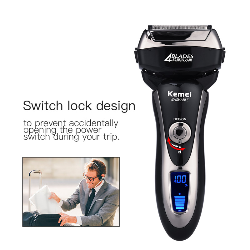 4 Blade Electric Shaver Waterproof Reciprocating Shaver Razor Cordless Facial Hair Beard Remover LCD Display Travel