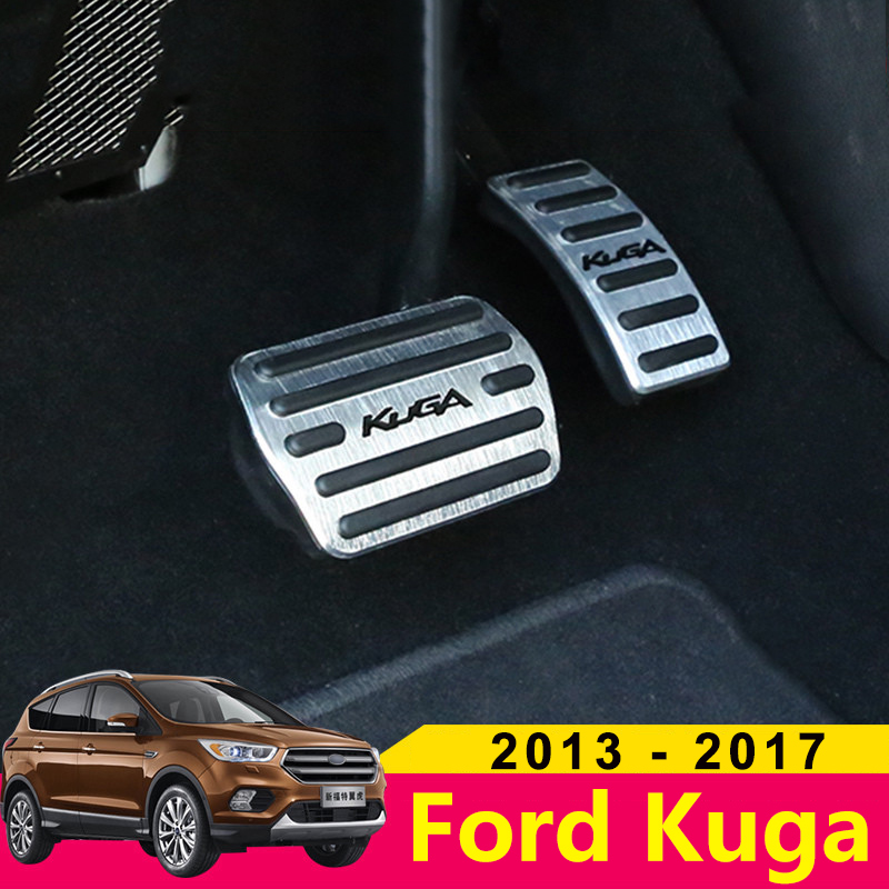 Aluminum alloy Car Accelerator Gas Pedal Brake Pedal Non Slip Pedal Pads Cover AT For Ford Kuga Escape 2013 2014 2015 2016 2017-in Pedals from Automobiles & Motorcycles