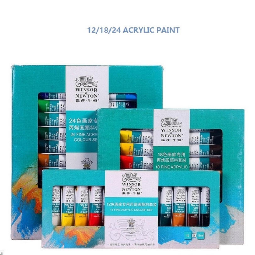 цена на WINSOR&NEWTON 12/18/24 colors Acrylic Paints ART fine painting supplies 10ml/piece