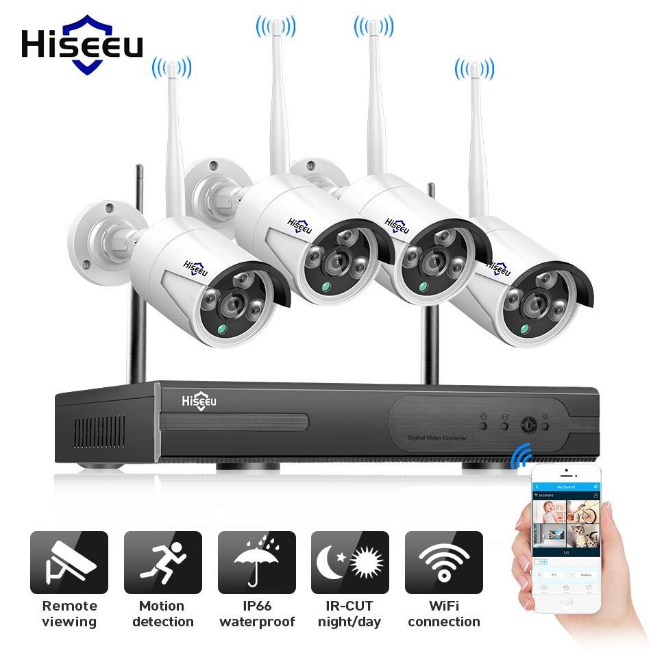 Hiseeu Sans Fil CCTV Caméra Kit 1080 p 4CH IP caméra Extérieure H.265 + Vidéo Surveillance P2P 1 tb Étanche IP66 e-mail Alerte 3.6mm
