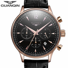 Relogio Masculino GUANQIN Mens Jewelry Watches Men Sport Leather Quartz Watch Men's Fashion Casual Wristwatch